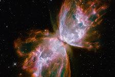 哈勃发现濒死恒星产生绚烂星云似蝴蝶
