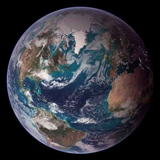 美公布地球最新照片城市亮光清晰可见(图)