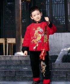 华伦圣龙男宝大彩龙唐装 L 08208红色(3-4岁)