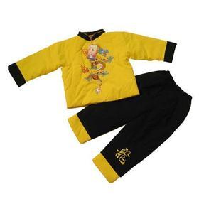 华伦圣龙男宝大彩龙唐装 L 08208黄色(3-4岁)