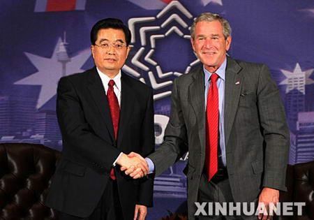 中美元首会晤布什表示反对台当局入联公投