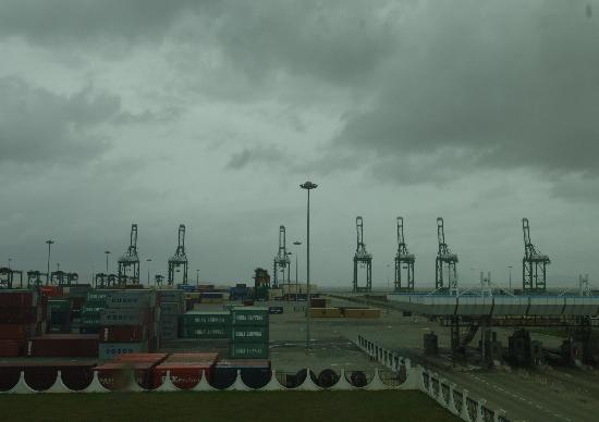 图文:台风到来前关闭的福州新港集装箱码头