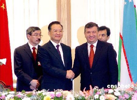 组图:温家宝同乌兹别克斯坦总理会谈
