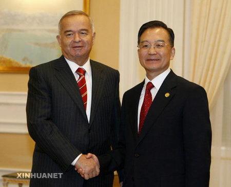 图文:乌兹别克斯坦总统卡里莫夫会见温家宝
