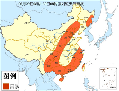 中央气象台今天上午六点钟继续发布强对流天气预报:-中央气象台29