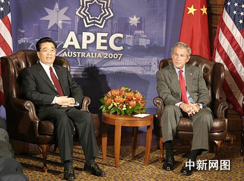 图文:胡锦涛与布什共同会见记者