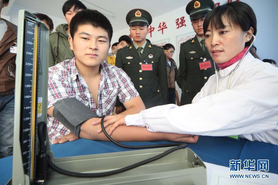 组图:实拍解放军征兵体检私照