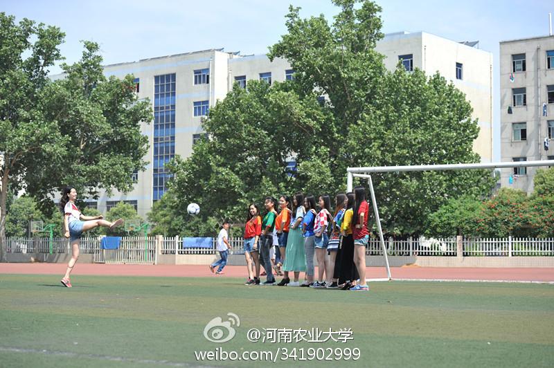 河南高校美女拍世界杯创意毕业照 引学弟惊叹