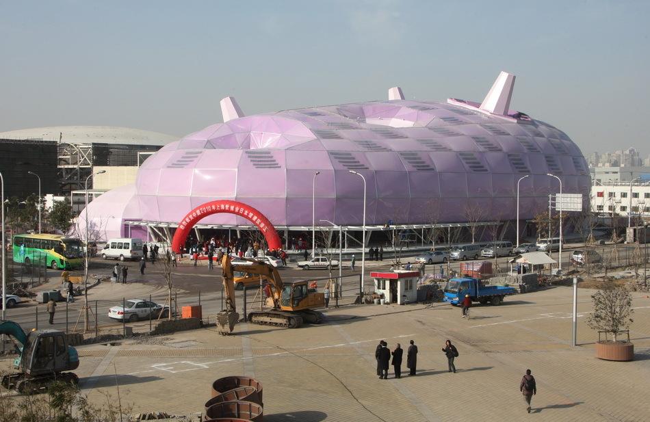 日,2010年上海世博会日本馆建筑竣工仪式和新闻发布会在上海举行