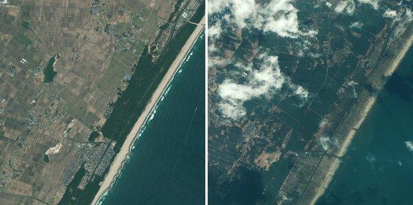 Цунами в японии 2011 видео со спутника