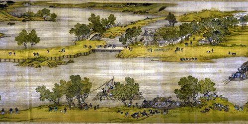 《清明上河图》以精致的工笔记录了北宋末叶、徽宗时代首都汴京(今