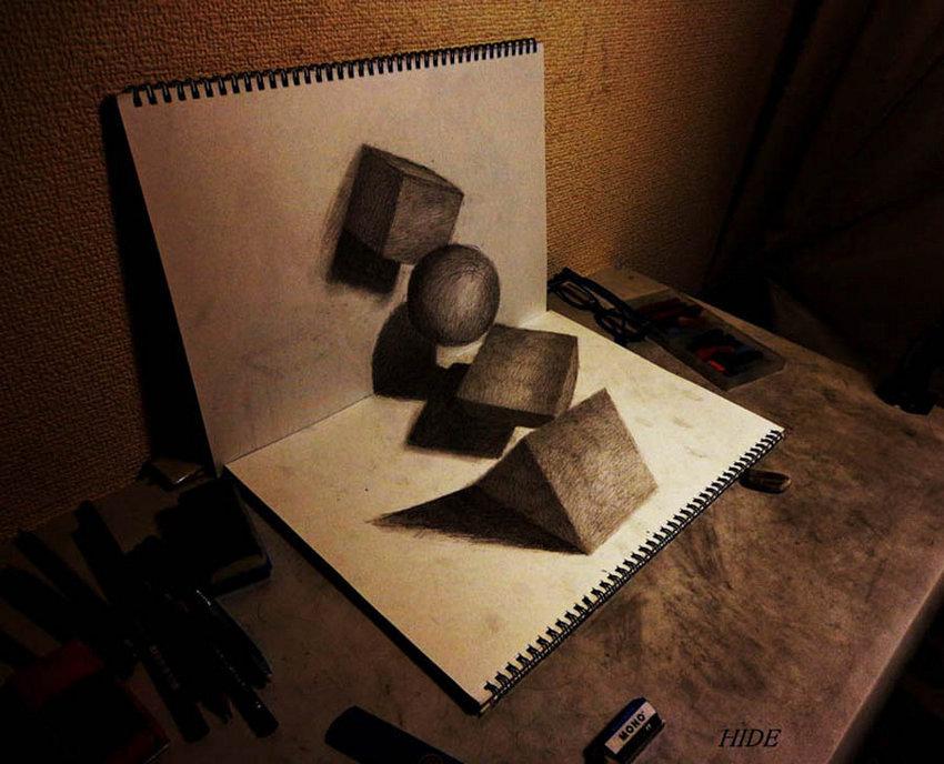 日本插画师绘制3D立体素描画栩栩如生图片