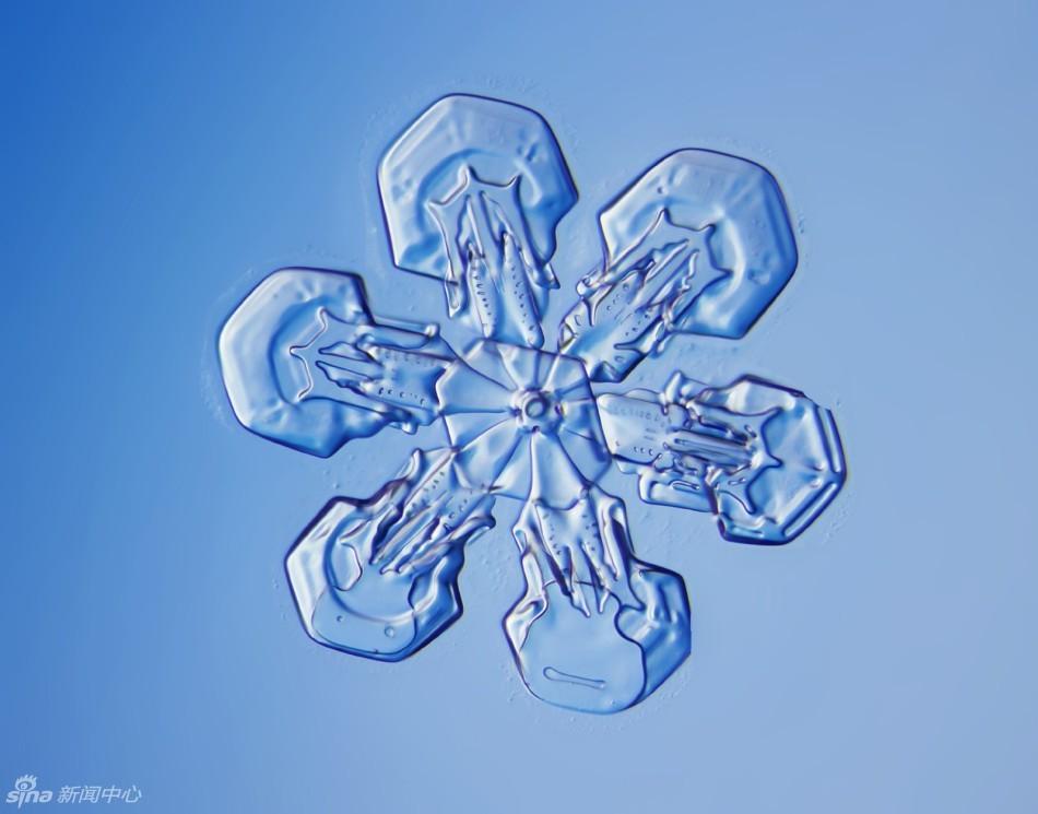 显微镜下的北京六瓣雪花