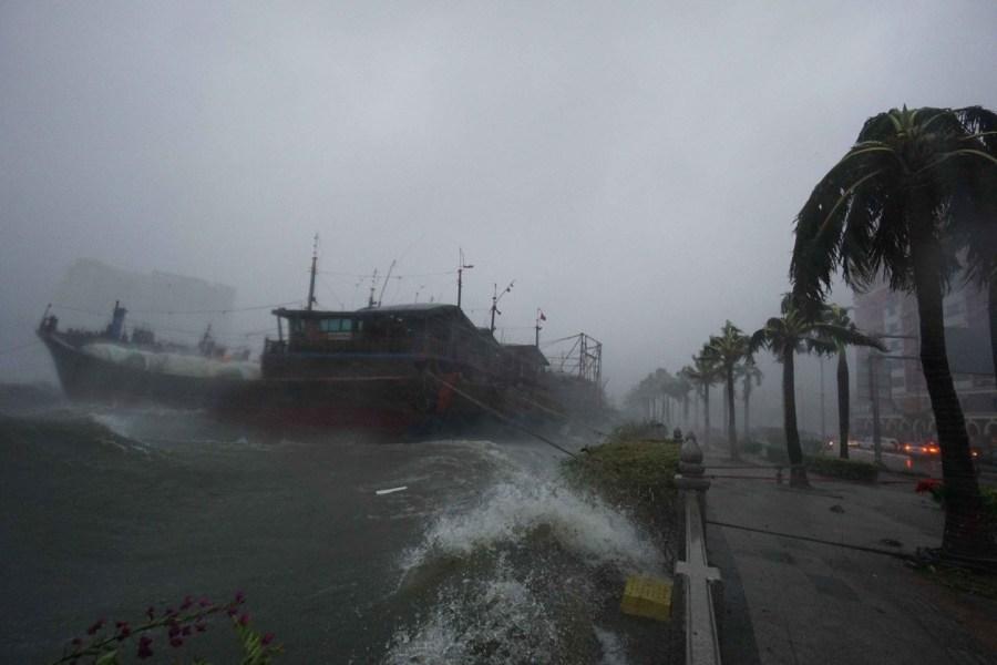 台风威马逊横扫海南 风像刀般剥光树皮