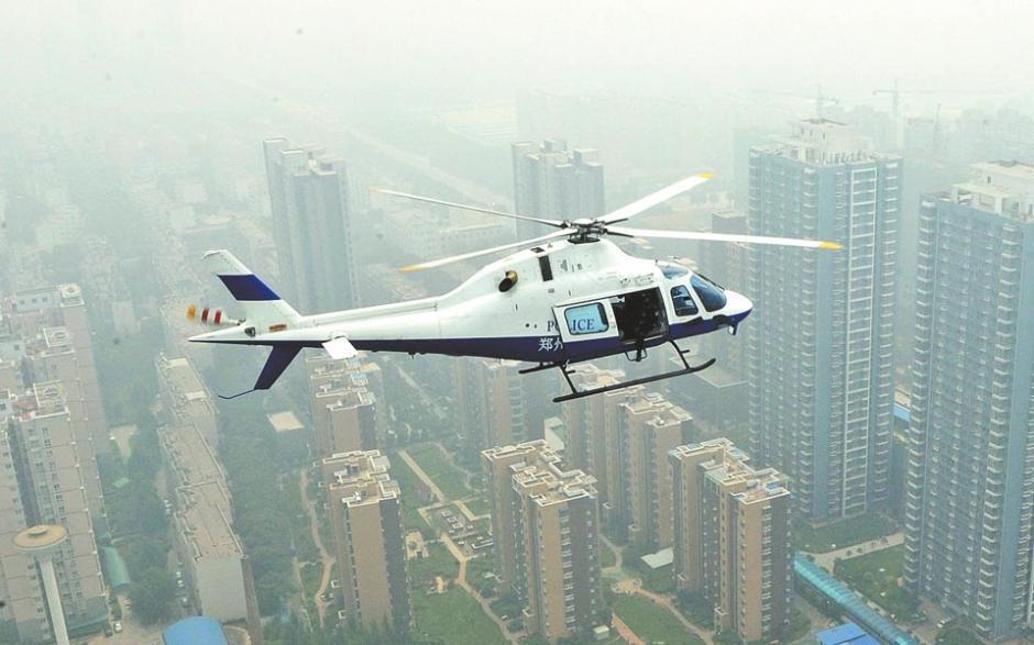 郑州特警配直升机反暴恐 可百米高空狙 图