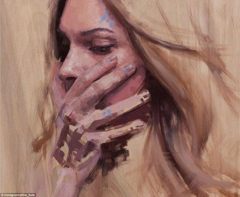 美女在废弃墙出浴美女手绘(12/12)看腋下画家图片