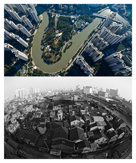 鸟瞰迪士尼城:上海苏州河十八湾