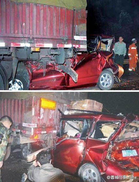 四川一家自驾游返家途中被卡车追尾全部死亡