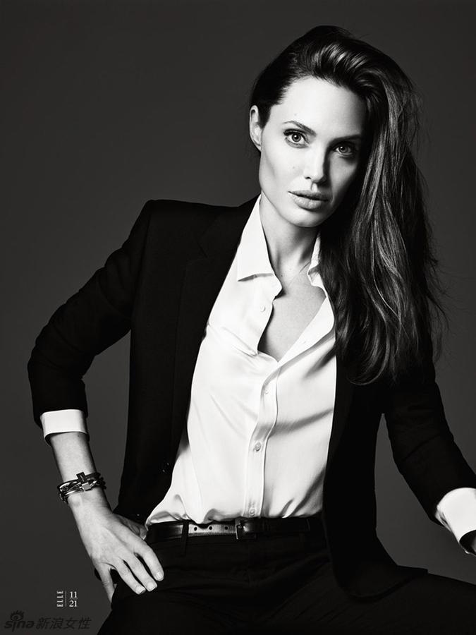 安吉丽娜-朱莉(Angelina Jolie)登上美国版《Elle》杂志6月刊封面.图片