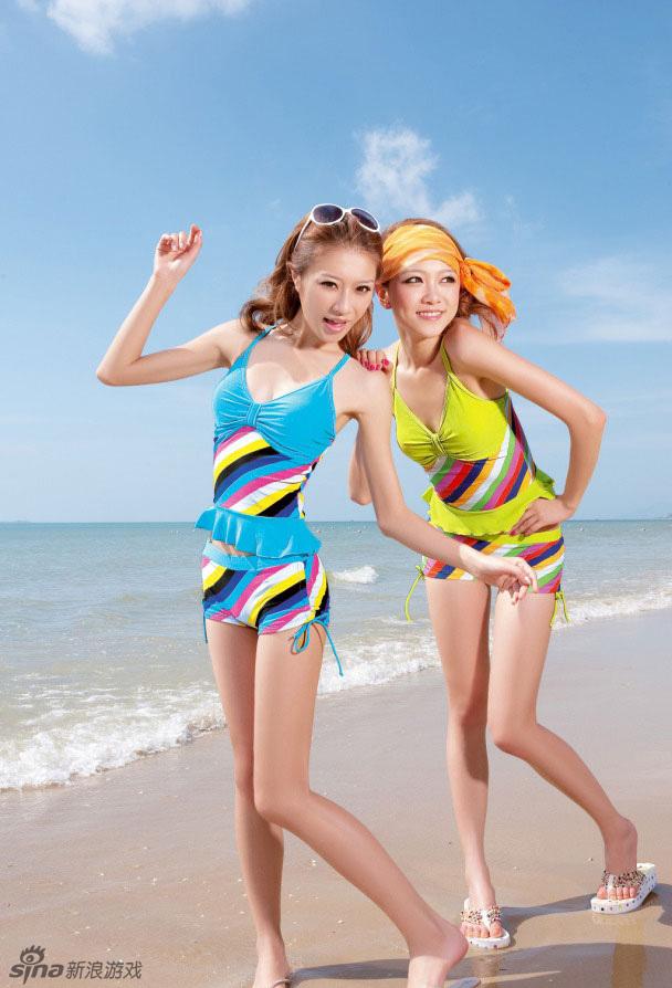 可爱女生黄一琳,彭勃,谢梦夏日泳装