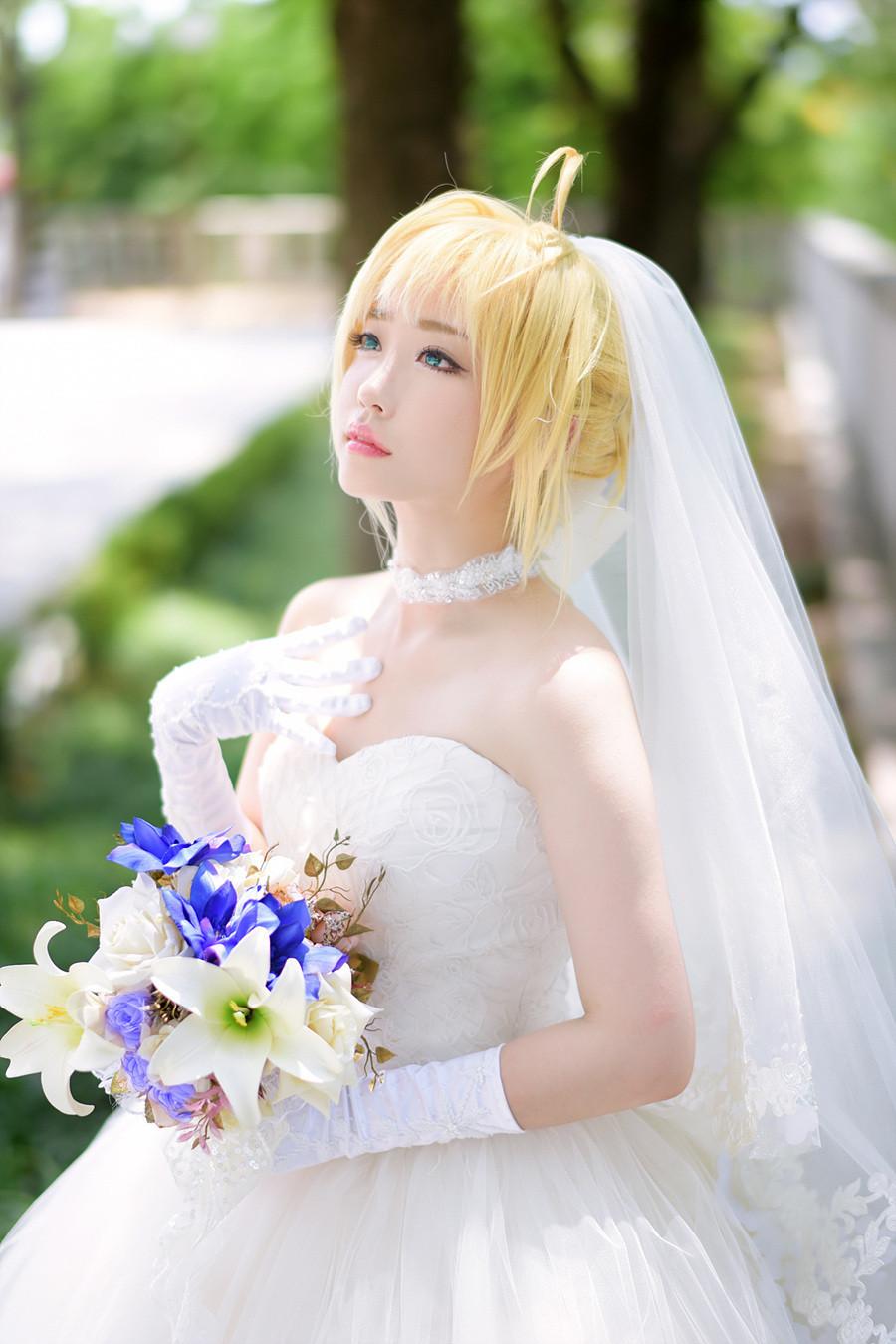 婚纱cos_雏田黑色婚纱cos