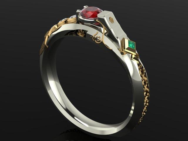 《英雄联盟》戏命师烬主题戒指 金边钻石闪不停