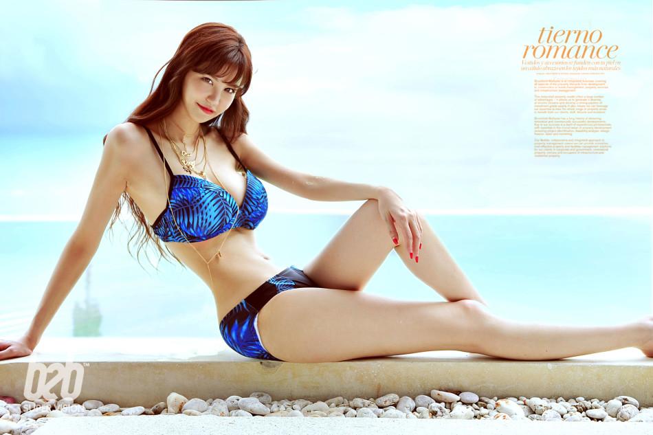遊戲女神葉梓萱藍色泳裝寫真