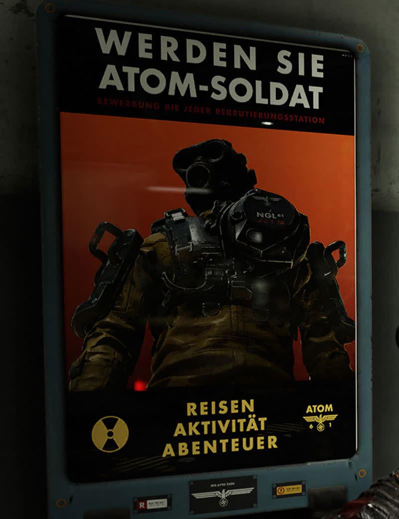 《德軍總部2 新巨像》遊戲中的海報