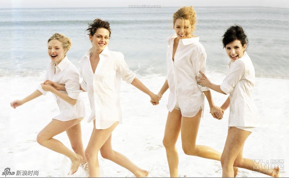 风情性感海滩写真 明星闺蜜们都爱一件白衬衫