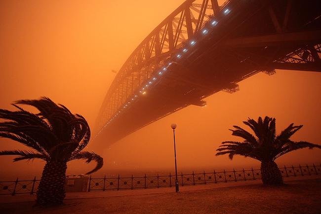 黄沙涌入了这座澳洲人口最稠密的城市.Flickr的网友记录下了这场罕