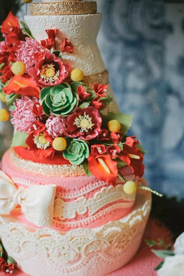 田园森系十足,只用蕾丝装饰的白色蛋糕,将经典升级,高贵大气.图片