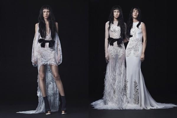 仿中式旗袍风格的新娘礼服
