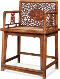 清早期黄花梨螭龙纹诗文玫瑰椅成对