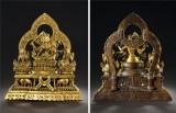 十七至十八世纪 尼泊尔铜鎏金文殊组像