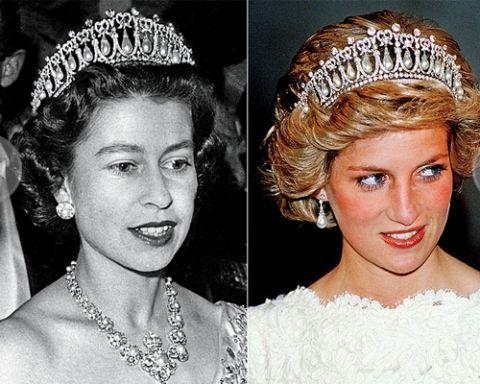 58年佩戴过的珍珠钻石王冠送给了英伦玫瑰戴安娜王妃作为结婚礼物