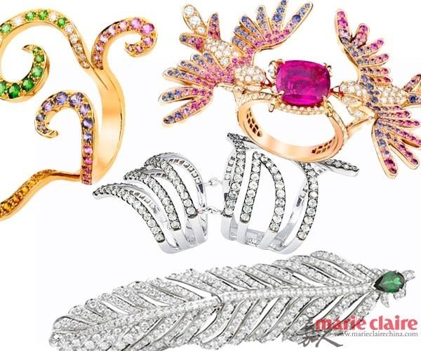 珠宝雕琢出的指环戒指
