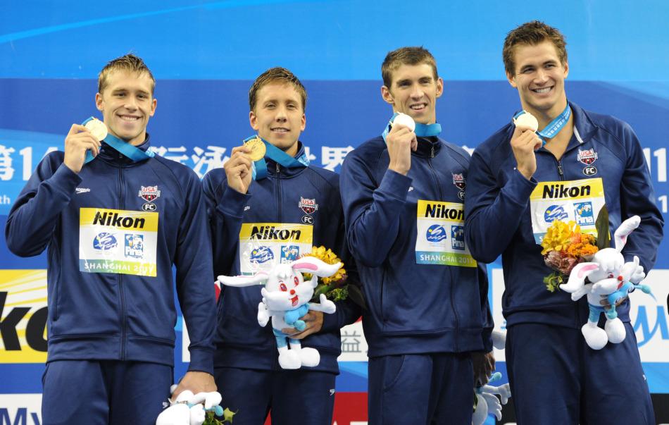 7月31日,2011年第14届国际泳联世锦赛男子4X100米混合泳接力决赛,美国队3分32秒06获得金牌,澳大利亚队3分32秒26获亚军,德国队3分32秒60摘铜。