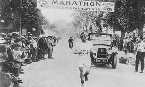 奥运会马拉松黑白老照片图片