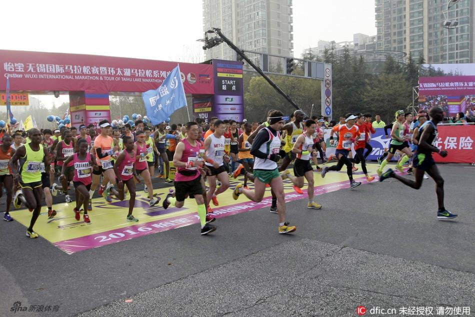 16年无锡国际马拉松赛在太湖之滨举行,这也是2016年环太湖马拉松