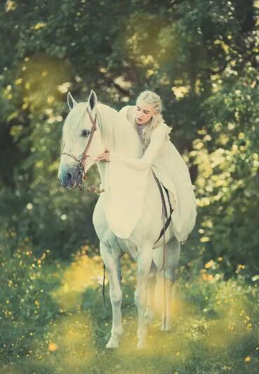 骑白马的不一定是王子,也不是唐僧,可能是精灵般的女人.一袭白