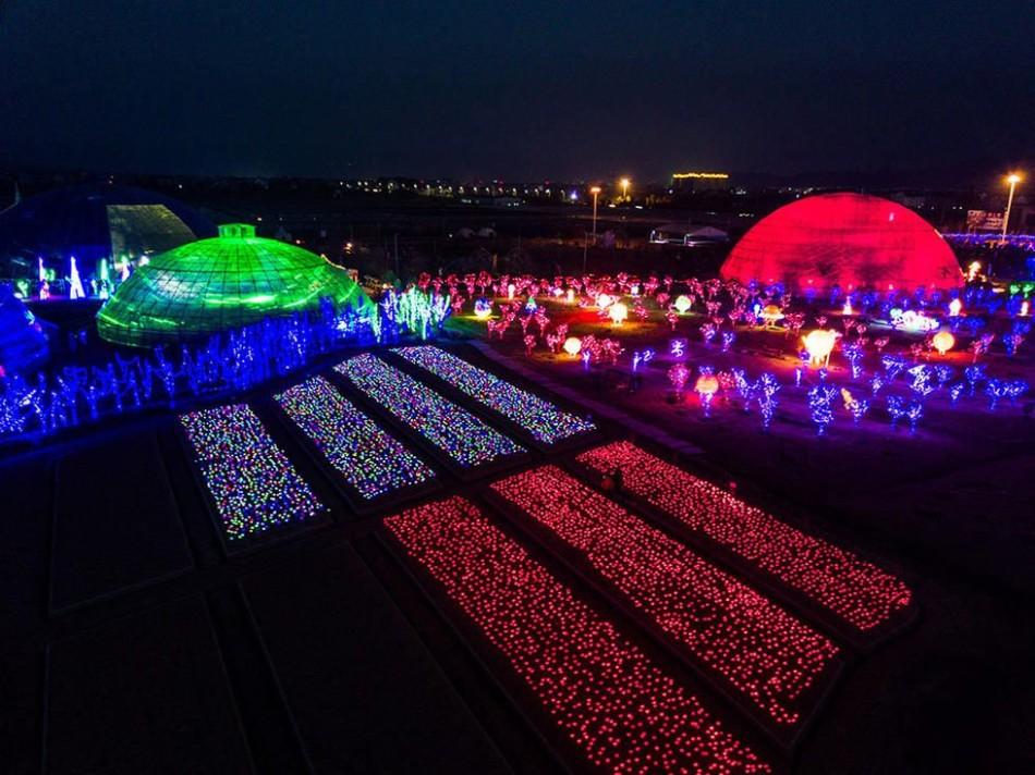 台州星球农场亮灯 犹如科幻片场景