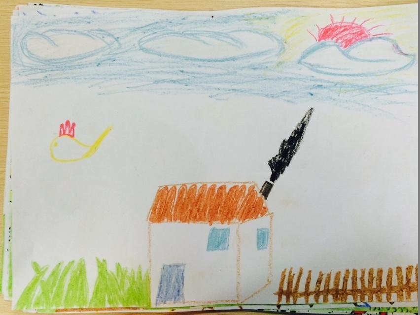 幼儿几何图形拼贴画小火车-印.图为甘小巾小朋友作品-稚绘欢乐谷公益涂鸦大赛儿童涂鸦作品