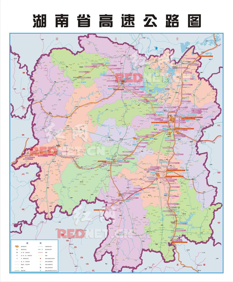 湖南高速公路交通地图