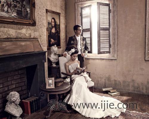 复古宫廷欧式内景婚纱照