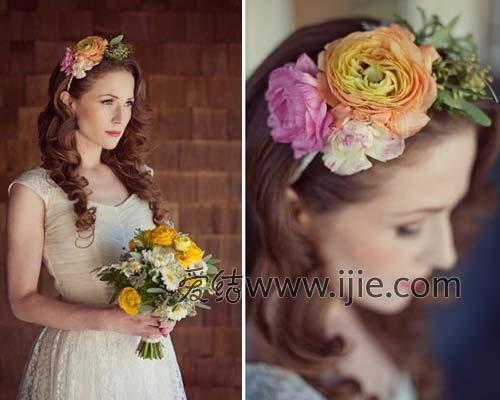 将阳光,鲜花和新娘发型完美融合并诠译出来.