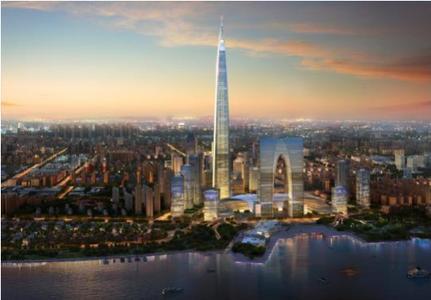 后将超越深圳最高楼平安国际金融中心(600米)和上海中心大厦(