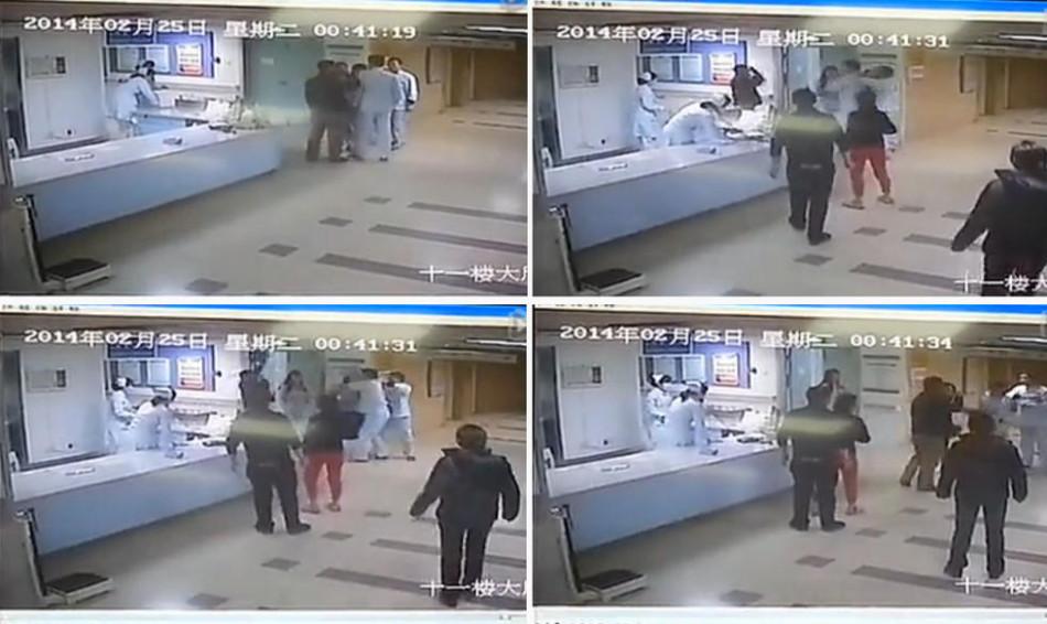 """日,南京市鼓楼医院住院部,伤者陈星羽的病房门外贴着""""谢谢关心"""