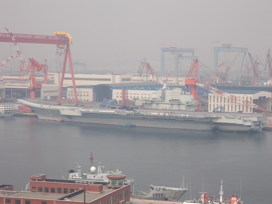 中国航母升军旗排练交付仪式