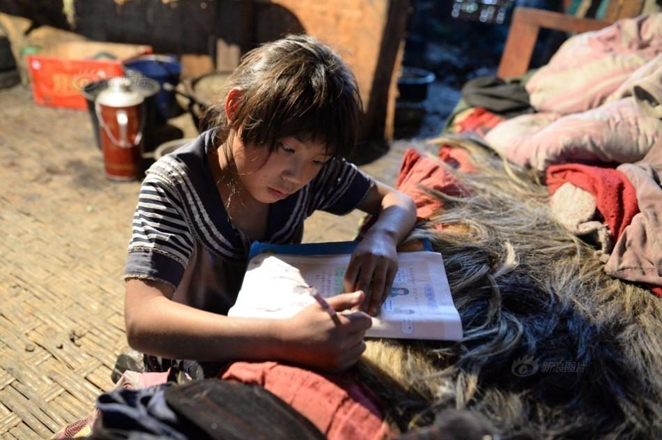 畜景牲景寒武纪年吧-3月28日在云南省怒江州福贡县木克基村一名孩子趴在床上做作业...