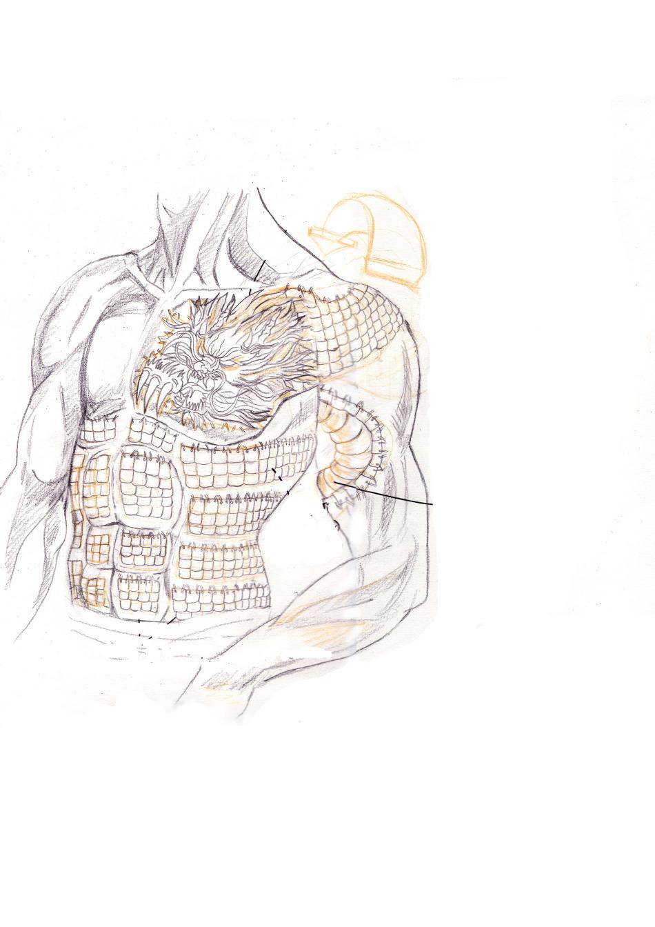 手绘服装灰白铅笔画